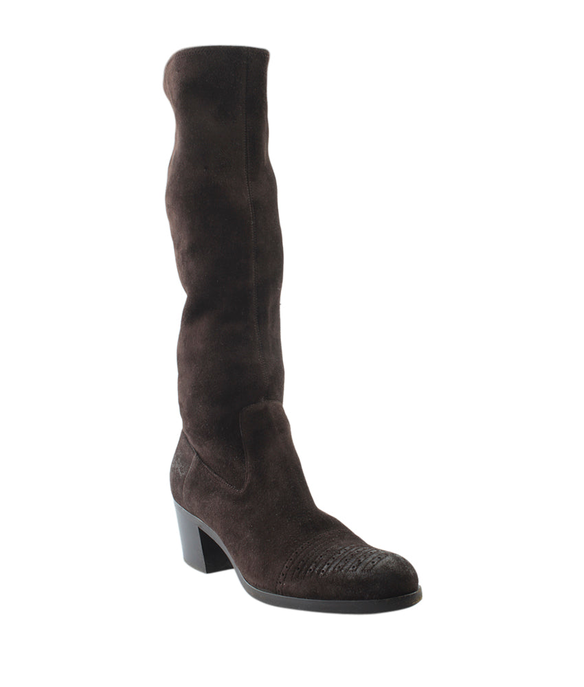 Prada Brown Suede Knee - High Boots, Size 7