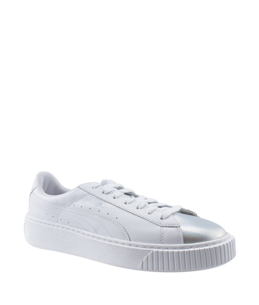 Puma Basket Platform White Leather Sneakers, Size 8