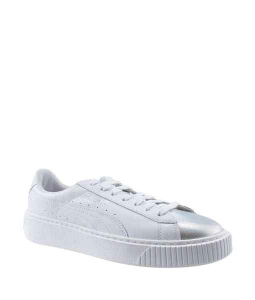 wholesale dealer d237e 06fb0 Puma Basket Platform White Leather Sneakers, Size 8