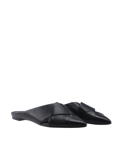 Sigerson Morrison Sheldon Black Leather Flats, Size 8.5