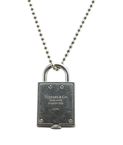 Tiffany & Co. Lock Watch Sterling Silver Pendant Necklace
