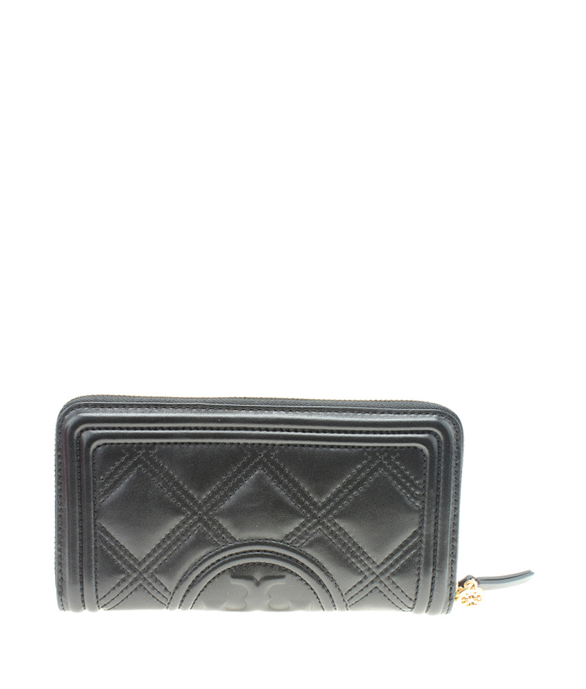 Tory Burch Fleming Black Quilted Leather Zippered Wallet