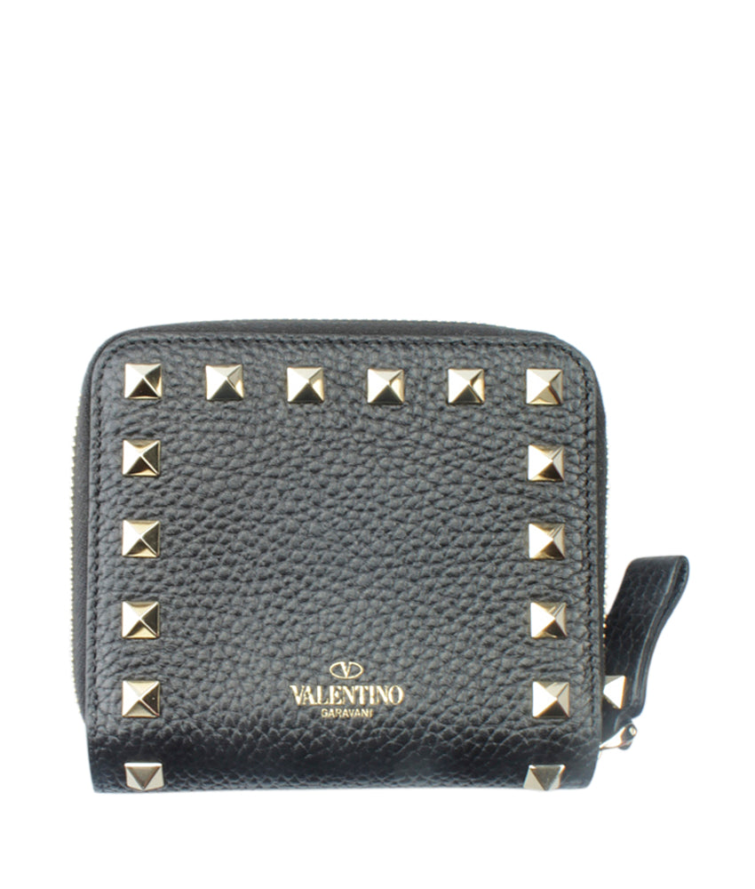 Valentino Rockstud Black Leather Zippered Wallet