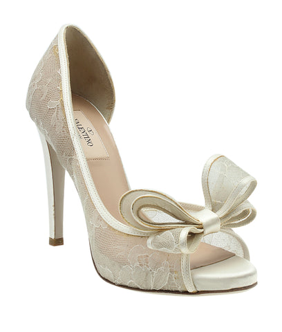 Valentino Couture Bow Lace D'Orsay Ivory Leather Open-toe Heels, Size 37