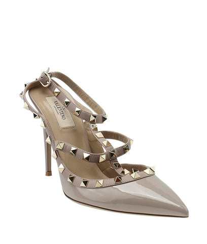 Valentino Rockstud Beige Patent Leather Sandals, Size 40