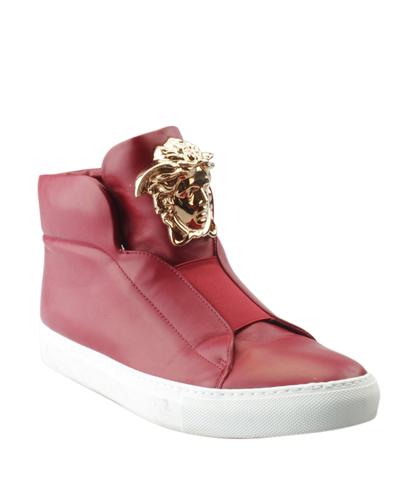 Versace Red Leather Sneakers, Size 40