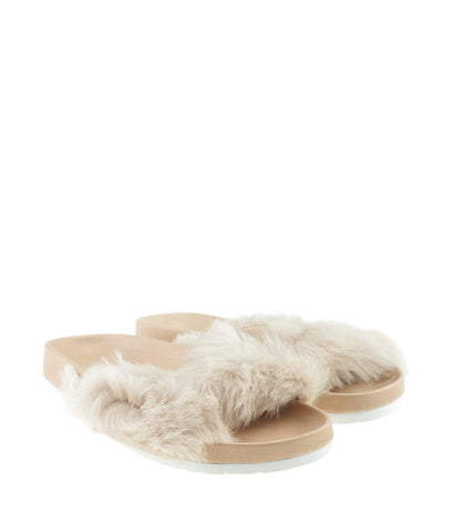 Vince Garrison Tan Fur Sandals, Size 5