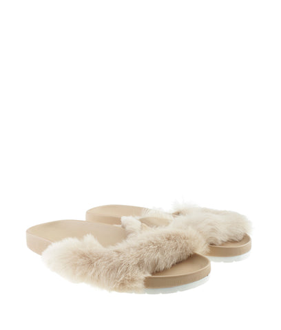 Vince Garrison Tan Fur Sandals, Size 6.5