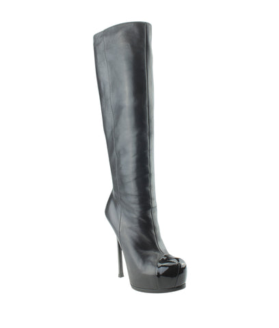 Yves Saint Laurent 306542 Tribute Two Leather Knee - High Boots, Size 39