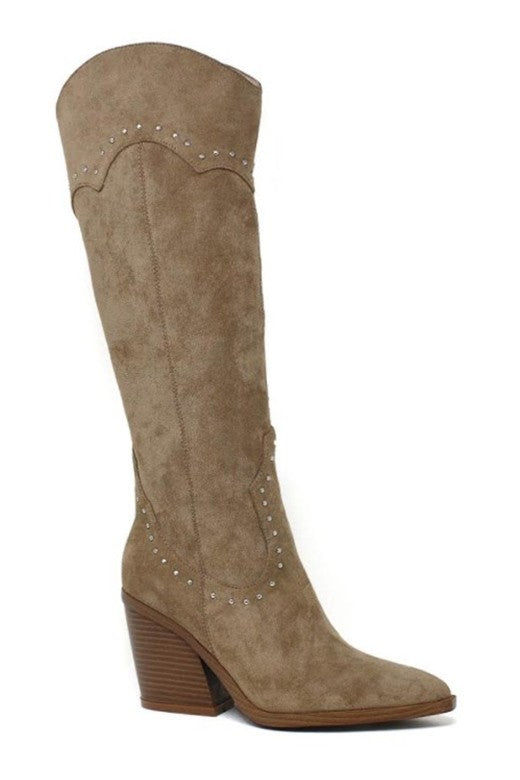 SUEDE KNEE HIGH STUDDED BOOTS