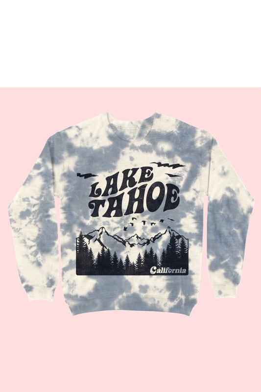TIE DYE LAKE TAHOE GRAPHIC CREWNECK
