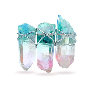 Aqua / Pink Quartz Crystal Pin