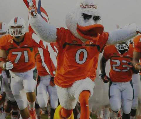 A duck mascot running in front of a football team