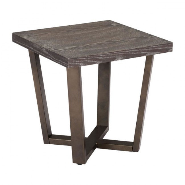 Brooklyn Side Table - Gray Oak & Brass