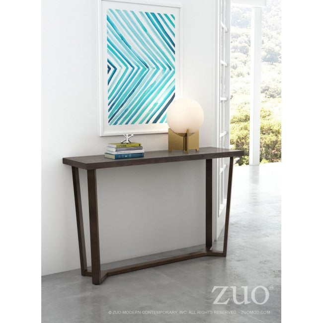 Brooklyn Console Table - Gray Oak & Brass