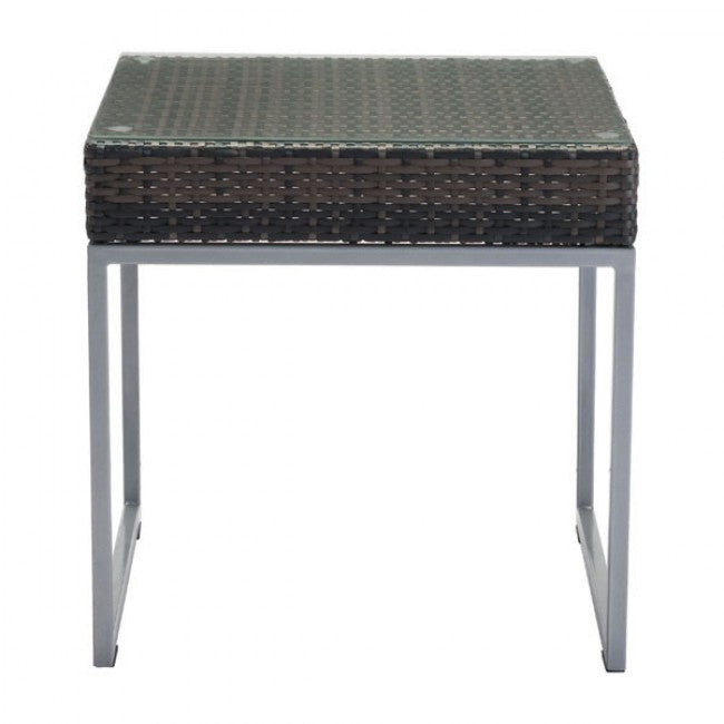 Malibu Side Table - Brown & Silver