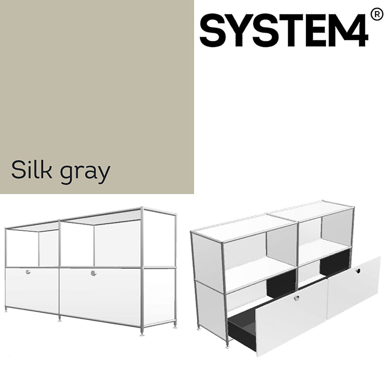 SYSTEM4 Filing Credenza with 2 Large Drawers and 2 open Shelves (Beige)