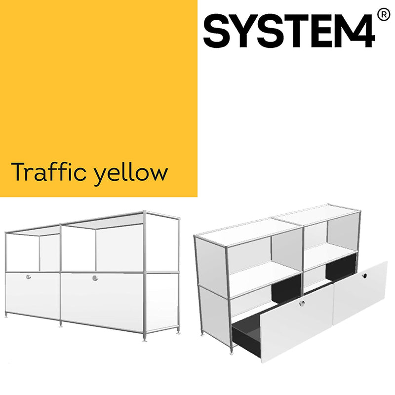 SYSTEM4 Filing Credenza with 2 Large Drawers and 2 open Shelves (Yellow)