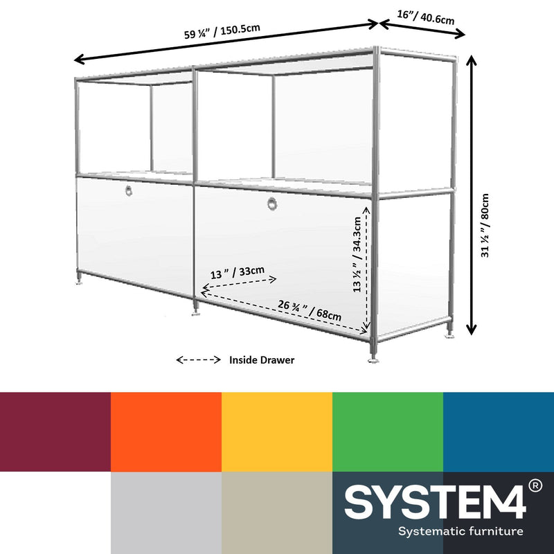 SYSTEM4 Filing Credenza with 2 Large Drawers and 2 open Shelves (Light Gray)