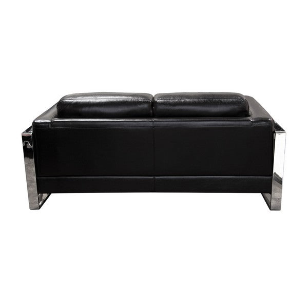 Annika Loveseat in Black Air Leather