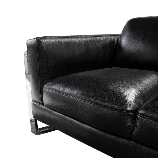 Annika Sofa & Loveseat 2PC Set in Black Air Leather