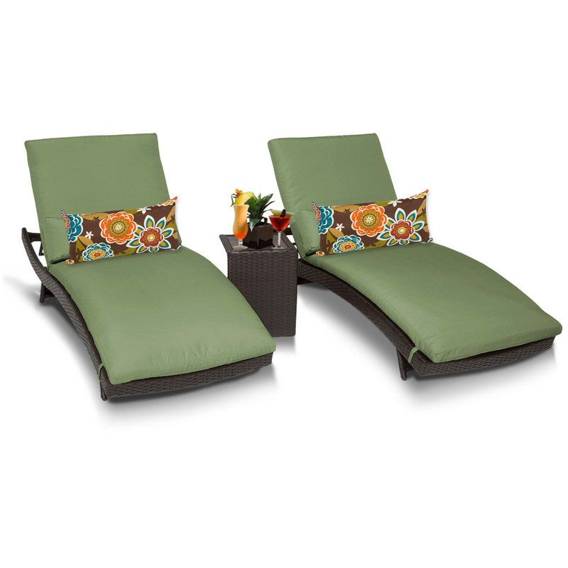 Bali Outdoor Chaise Lounge Set With Side Table, Cilantro