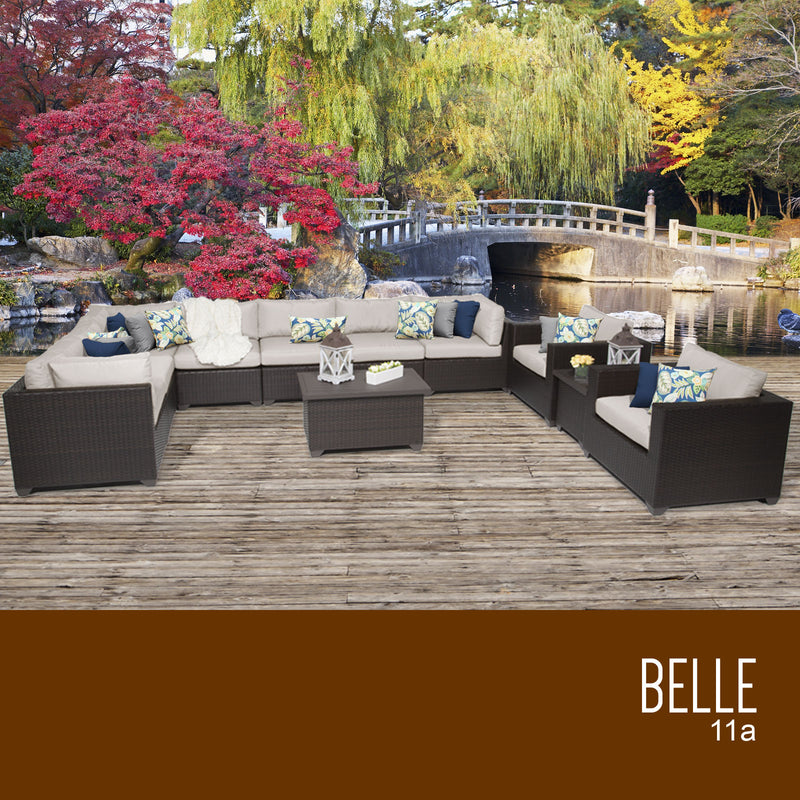 Belle 11 Piece Beige Outdoor Wicker Patio Set