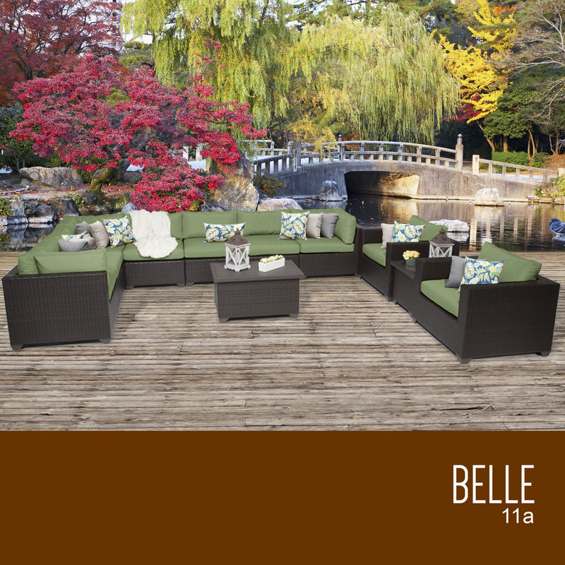 Belle 11 Piece Cilantro Outdoor Wicker Patio Set