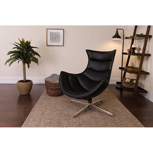 Flash Furniture Modern Leather Swivel Cocoon Chair