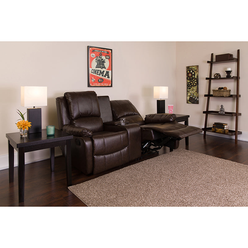 Allure Series 2-Seat Reclining Brown Leather Theater Seating Unit with Cup Holders