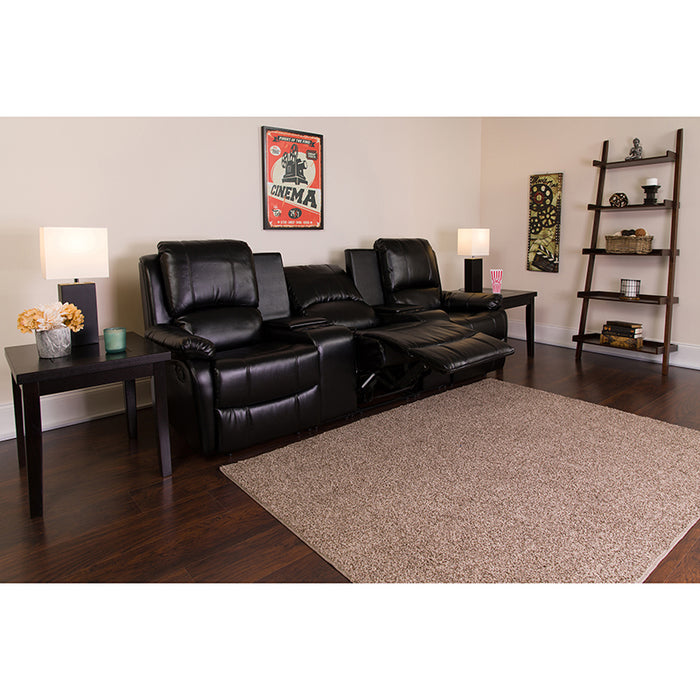 Flash Furniture Allure Series 3-Seat Reclining Black Leather Theater Seating Unit