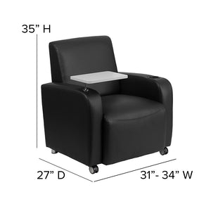 Flash Furniture Contemporary Rolling Guest Chair with Tablet Arm and Cup Holder
