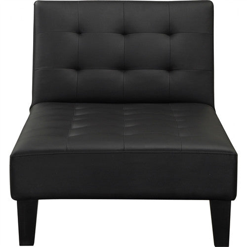 Black Faux Leather Upholstered Reclining Chaise Lounge
