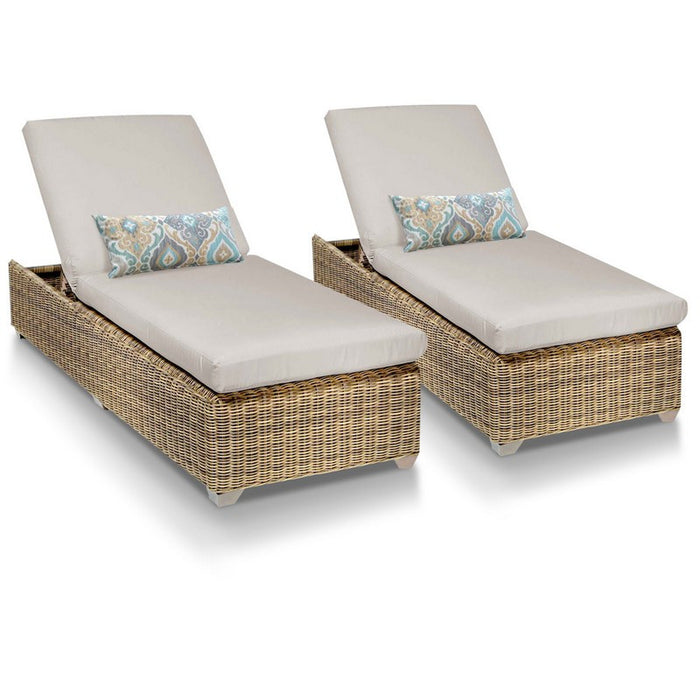 Cape Cod Outdoor Chaise Lounge - Beige (Set of 2)