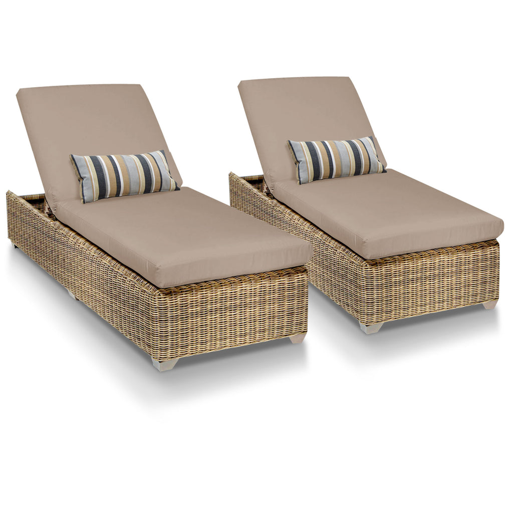 Cape Cod Outdoor Chaise Lounge - Wheat (Set of 2)