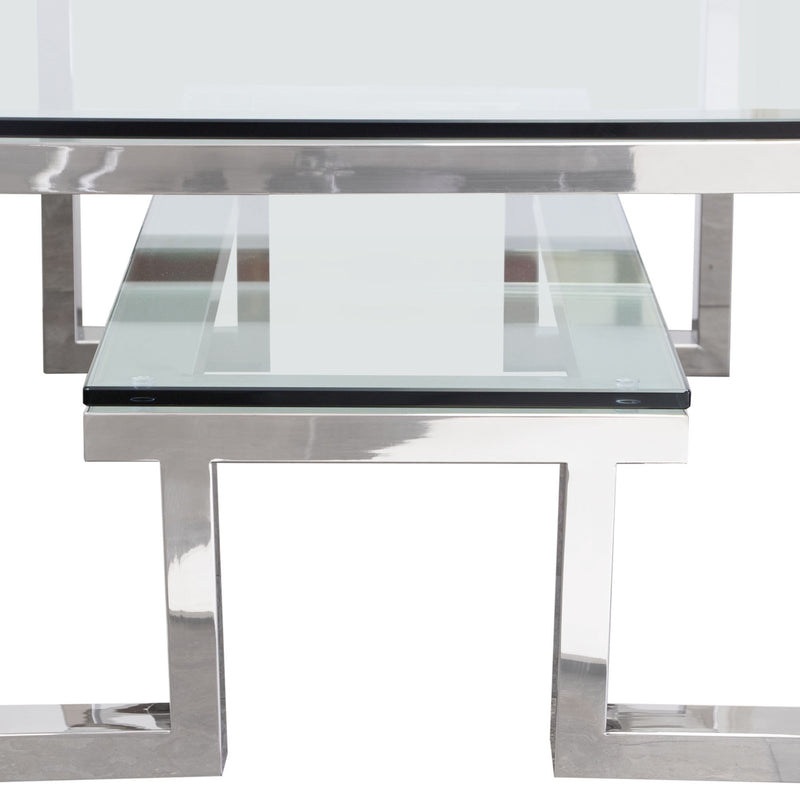 Carlsbad Cocktail Table with Clear Glass Top & Shelf