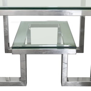 Diamond Sofa Stainless Steel Carlsbad End Table with Glass Top