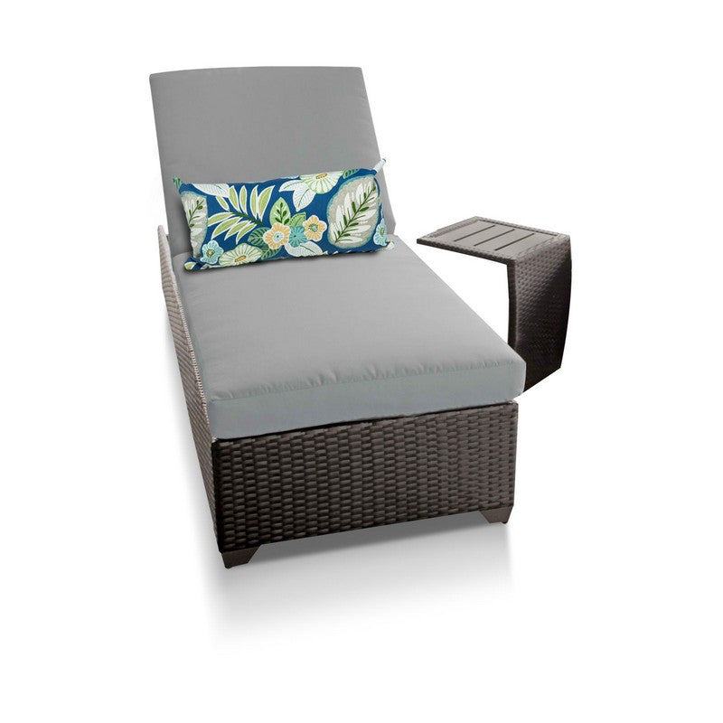 Classic Outdoor Chaise Lounge With Side Table - Gray