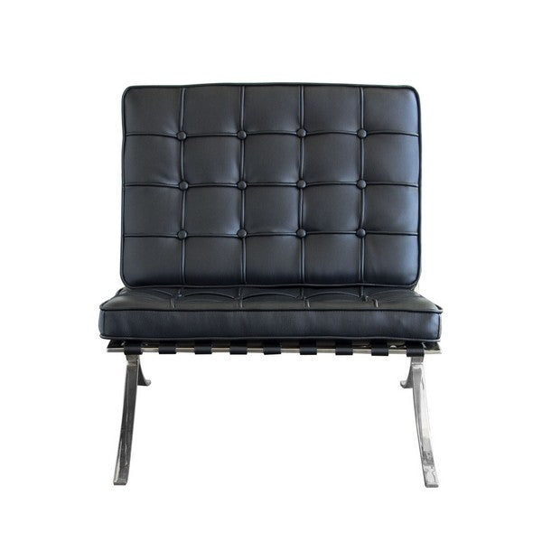 Cordoba Tufted Chair & Ottoman 2-Piece Set - Black