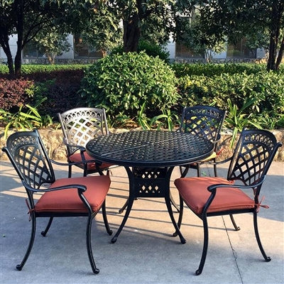 "ComfortCare 5-Piece Aluminum Dining Set w/42"" Round Table"