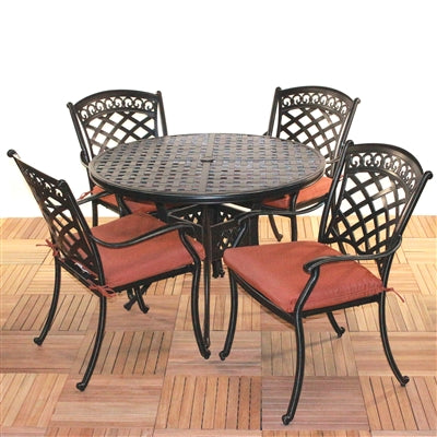"ComfortCare 5-Piece Aluminum Dining Set w/48"" Round Table"