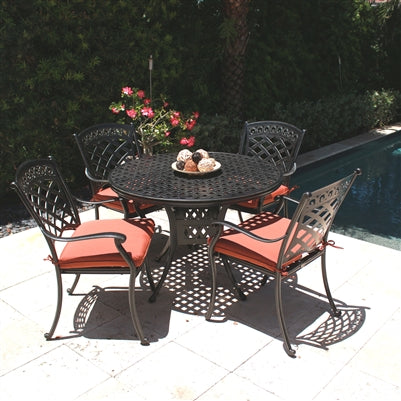 ComfortCare Cast Aluminum Patio Dining Armchair - Set of 6 Chairs with Cushions