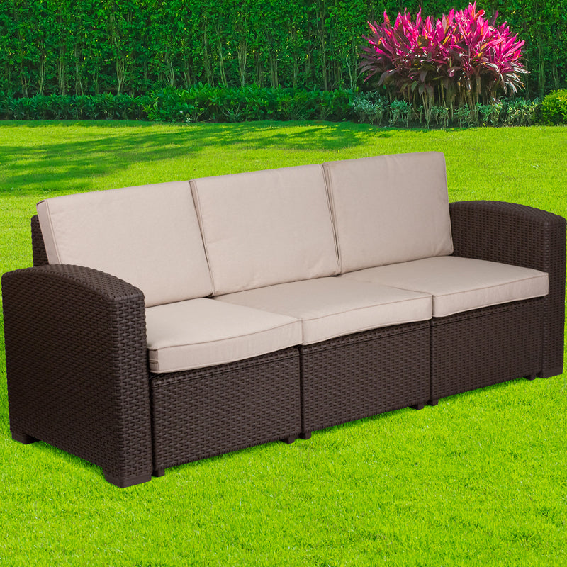 Chocolate Brown Faux Rattan Sofa
