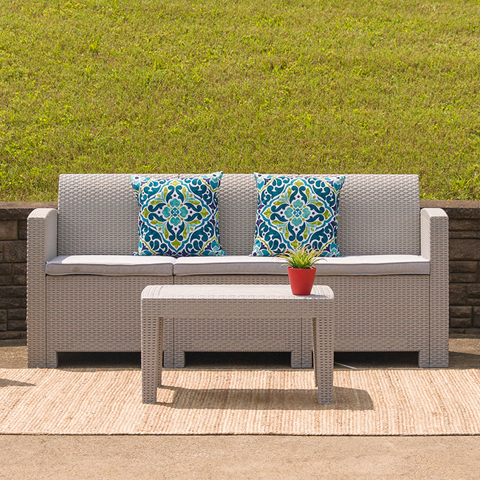 Flash Furniture Contemporary Indoor/Outdoor Light Gray Faux Rattan Sofa
