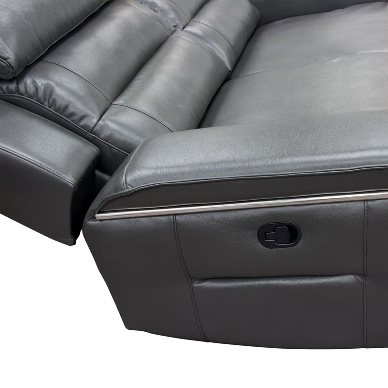 Duncan Dual Reclining Sofa - Grey Leatherette
