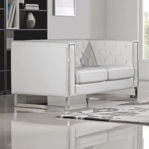Diamond Sofa Chelsea White Leatherette Loveseat with Metal Leg