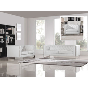 Diamond Sofa Chelsea White Leatherette 3-Piece Sofa, Loveseat, & Chair Set