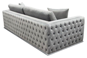 "Diamond Sofa Envy 91"" Sofa in Platinum Gray Velvet"