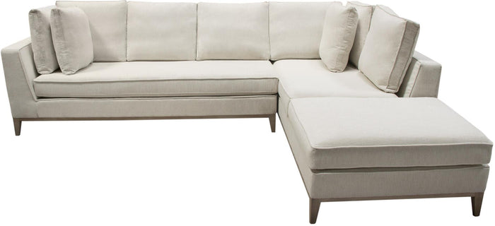Diamond Sofa Haven Right-Hand Facing 2-Piece Sectional in Cream Polyester Fabric