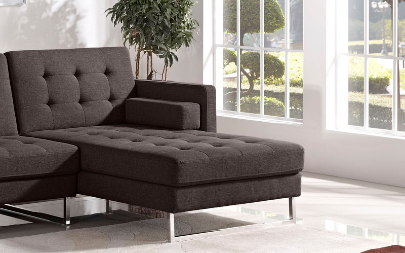 Opus Convertible Tufted Right Face Chaise - Chocolate